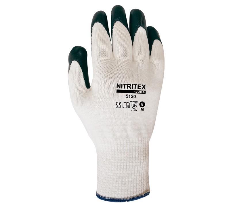 Guante Juba 5120 NITRITEX 8/M Blanco / Gris oscuro (10 pares)
