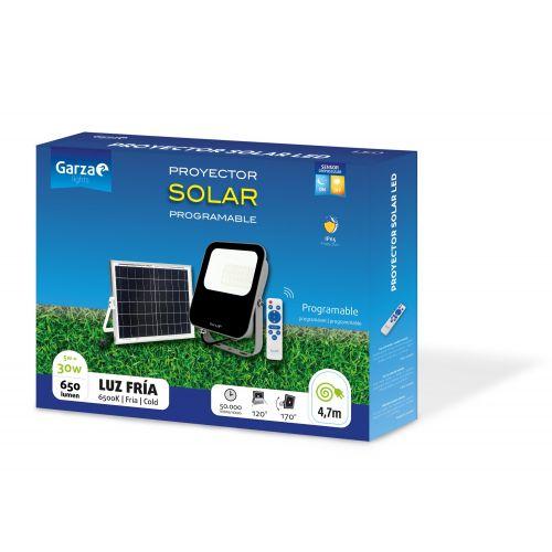 Foco Solar con Sensor Crepuscular GARZA Led con mando 30W , 650 lúmenes, 6500K