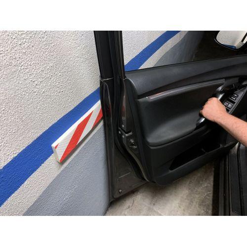 Protector parking lateral / rojo-blanco