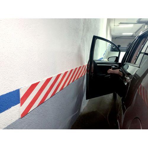 Protector parking en rollo 2m. / rojo-blanco