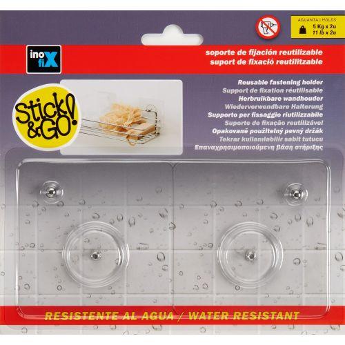 Soporte de fijación reutilizable con rosca / transparente