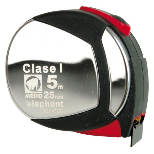 Flexometro clase I estuche acero inox y elastollan 5mx25mm