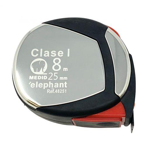 Flexometro clase I estuche acero inox y elastollan 8mx25mm