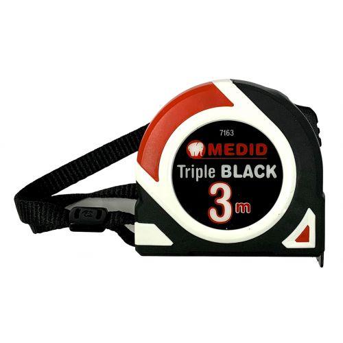 Flexometro Triple Black Fondo negro impreso en blanco