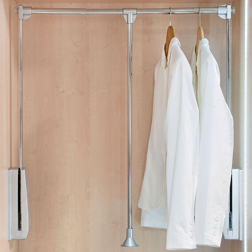 Emuca Colgador abatible para armario, regulable 450-600 mm, hasta 12 kg, Acero, Cromado