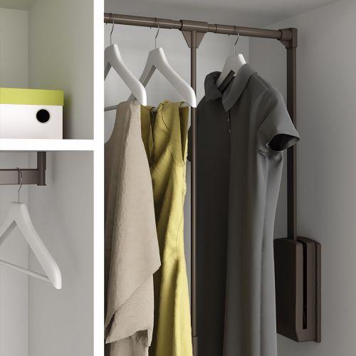 Emuca Colgador abatible para armario, regulable 600-830mm, hasta 12 kg, Acero, color moka