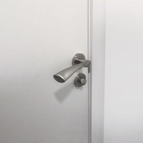 Emuca Juego de condena con roseta redonda para puertas de interior, diámetro 50 mm, zamak, níquel satinado, 5 un
