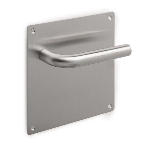 Emuca Juego de manillas con placa de 17x17 cm para puertas de interior, forma en L, Acero inoxidable, Níquel satinado