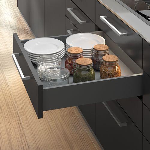Emuca Kit cajón Vertex de cocina o baño, altura 93 mm, prof. 350 mm, 40 Kg, cierre suave, Acero, Gris antracita