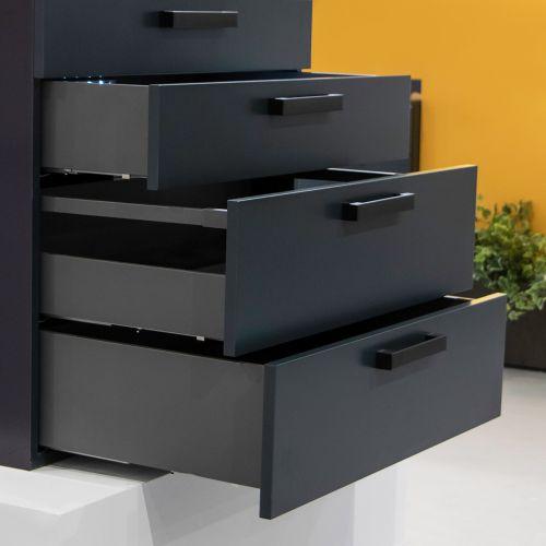 Emuca Kit cajón Vertex de cocina o baño, altura 93 mm, prof. 400 mm, 40 Kg, cierre suave, Acero, Gris antracita