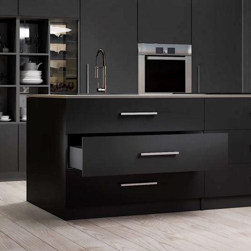 Emuca Kit cajón Vertex de cocina o baño, altura 93 mm, prof. 450 mm, 40 Kg, cierre suave, Acero, Gris antracita