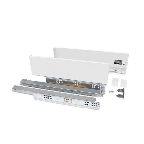 Emuca Kit cajón Vertex de cocina o baño, altura 93 mm, prof. 550 mm, 40 Kg, cierre suave, Acero, Blanco