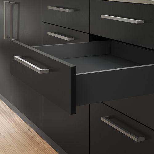 Emuca Kit cajón Vertex de cocina o baño, altura 131 mm, prof. 350 mm, 40 Kg, cierre suave, Acero, Gris antracita