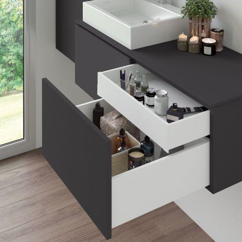 Emuca Kit cajón Vertex de cocina o baño, altura 131 mm, prof. 450 mm, 40 Kg, cierre suave, Acero, Blanco