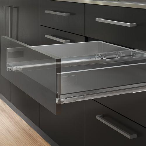 Emuca Kit cajón Vertex de cocina o baño, altura 131 mm, prof. 450 mm, 40 Kg, cierre suave, Acero, Gris antracita