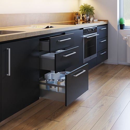 Emuca Kit cajón Vertex de cocina o baño, altura 178 mm, prof. 350 mm, 40 Kg, cierre suave, Acero, Gris antracita