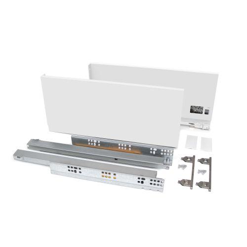 Emuca Kit cajón Vertex de cocina o baño, altura 178 mm, prof. 400 mm, 40 Kg, cierre suave, Acero, Blanco