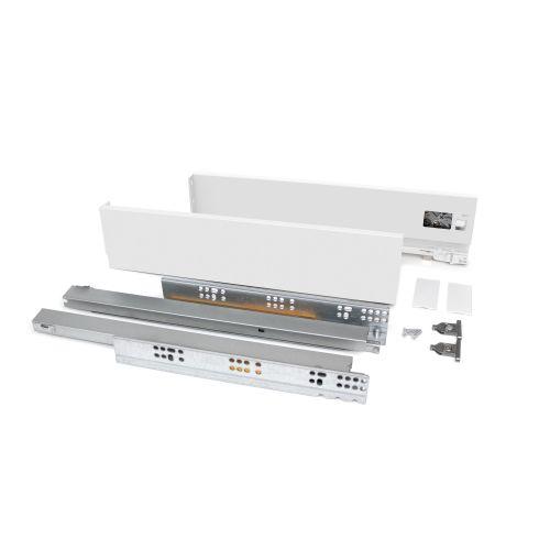 Emuca Kit cajón Vertex de cocina o baño, altura 83 mm, prof. 500 mm, 40 Kg, cierre suave, Acero, Blanco