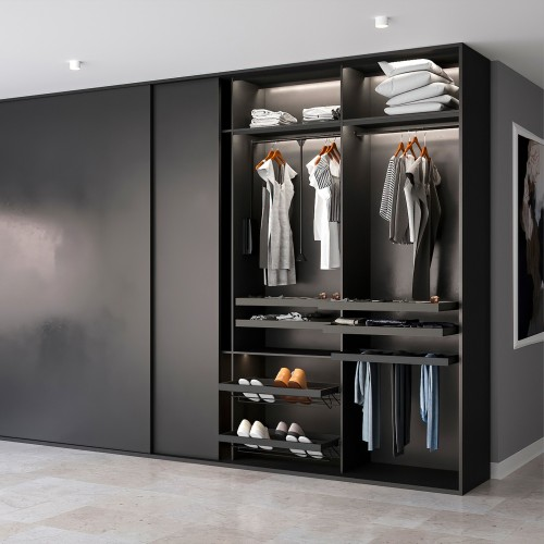Emuca Colgador abatible para armario, regulable 450-600 mm, hasta 12 kg, Acero, Pintado negro