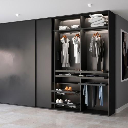 Emuca Colgador abatible para armario, regulable 600-830 mm, hasta 12 kg, Acero, Pintado negro