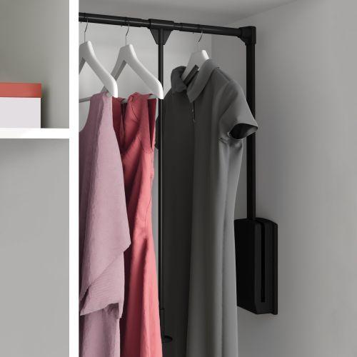 Emuca Colgador abatible para armario, regulable 830-1.150 mm, hasta 12 kg, Acero, Pintado negro