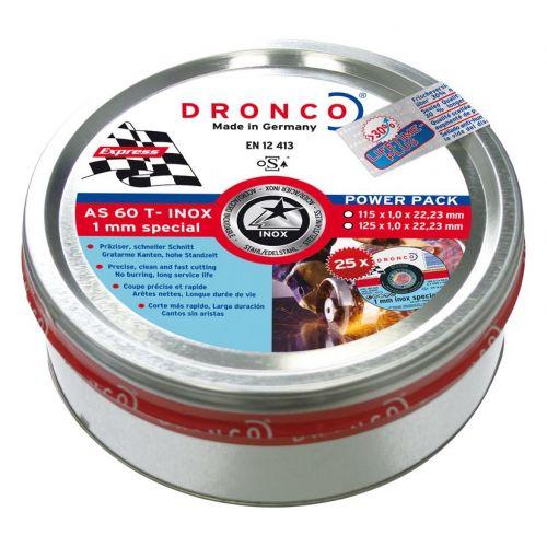 DRONCO AS60TINOX-115PPLUS25 - Lata sellada de 25 discos de corte metal 115 x 1,0 mm AS 60 T INOX  Special Express LIFETIME PLUS