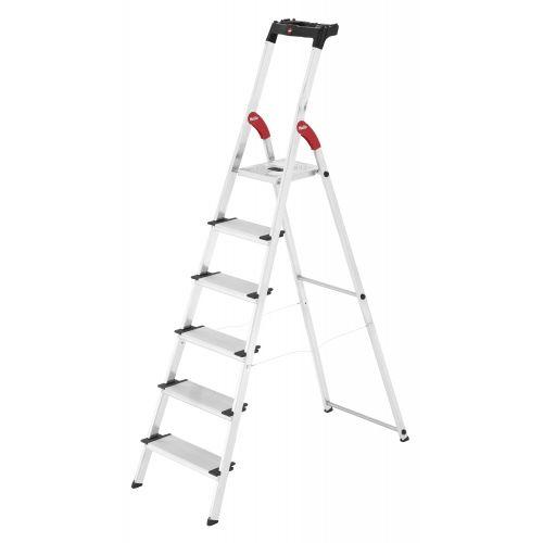 HAILO 5_8816-001 - Escalera de tijera de aluminio con peldaño ancho XXL EasyClix (6 peldaños)