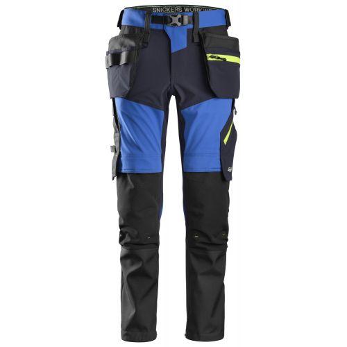 Pantalones largos de trabajo elásticos FlexiWork Softshell Slim Fit bolsillos flotantes 6940