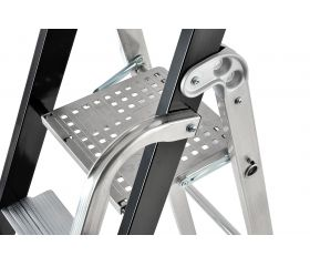 Escalera de tijera con peldaño ancho y barandilla Stabila Pro